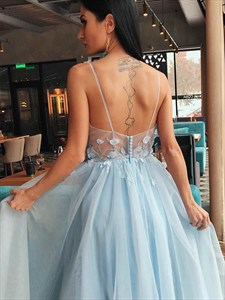 A-Line/Princess Tulle Lace Applique V-Neck Sleeveless Prom Dresses