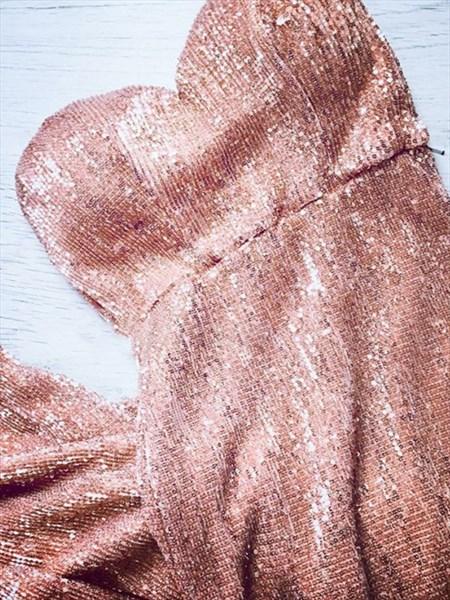Rose Pink Sequin Sweetheart Neckline Prom Dress With Split