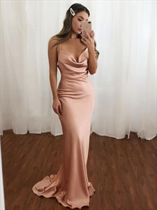 Sheath/Column Spaghetti Straps Ruched Long Prom Dresses