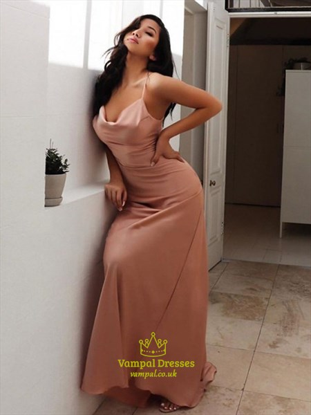 Sheath/Column Spaghetti Straps Ruched Long Prom Dresses