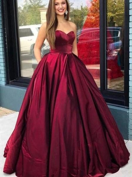 Burgundy Long Strapless Sweetheart Satin Prom Dress