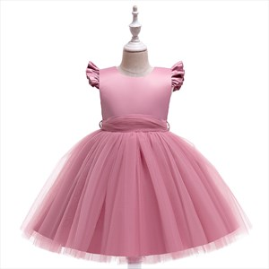 Girls Tulle Birthday Princess Party Dress With Flutter Sleeves