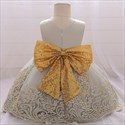 Girls Champagne Lace Applique Birthday Princess Dress With Sequin Bow