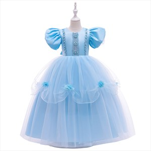 Girls Blue Pearl Embellished Princess Party Dress With Trumpet Sleeve
