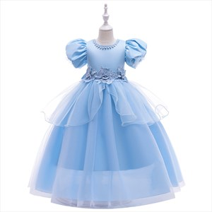 Girls Blue Floral Applique Princess Party Dress With Trumpet Sleeve