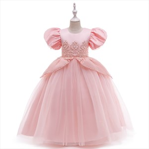 Girls Pearl Embellished Birthday Princess Dress With Short Sleeve