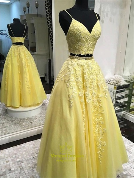 Two Piece Beaded Lace Applique V-Neck Spaghetti Strap Prom Dresses