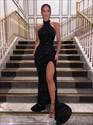 Black Sequin High Neck Halter Split Front Evening Prom Dresses