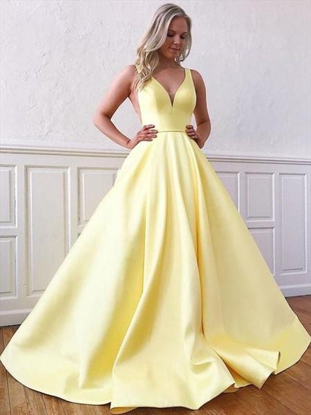 Yellow Satin V-Neck Long Sleeveless Prom Dress With Side Cutouts