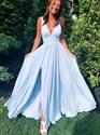 Elegant Sky Blue V-Neck Sleeveless Long Evening Gowns With Split