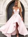 Pink V-Neck Ruffle Spaghetti Strap Satin Asymmetrical Prom Dresses