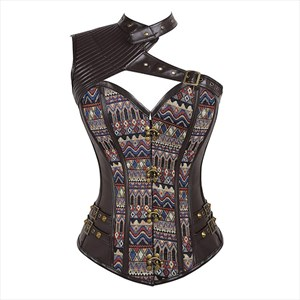 Punk One Shoulder Embroidery Leather Steel Boned Shaper Corset