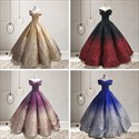Ball Gown Ombre Sequin Off The Shoulder Princess Prom Dresses