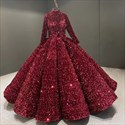 Ball Gown Ombre Sequin Long Sleeve Quinceanera Dresses