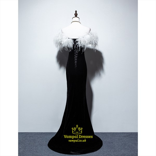Black Off The Shoulder Mermaid Prom Dress With Feather Embellished
