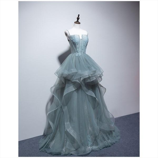 Layered Ruffle Spaghetti Strap Prom Dress With Lace Embellished