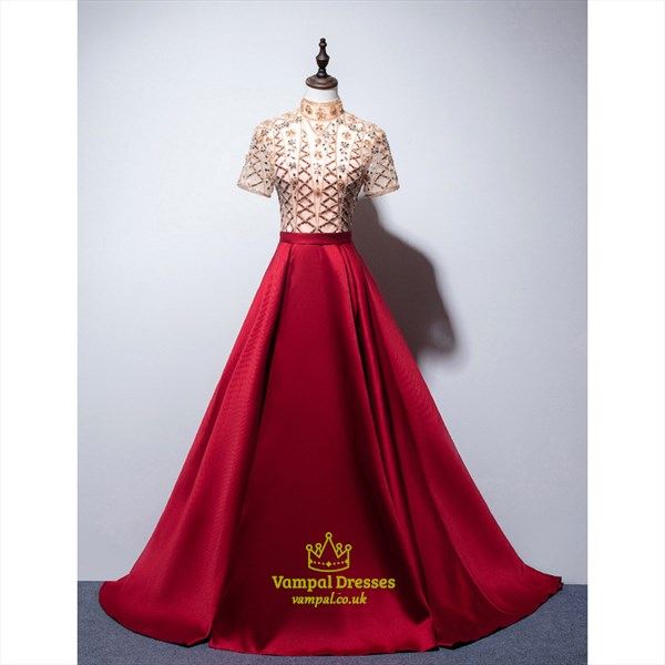 Red Beaded Bodice Embellished Satin Long Prom Dress With Short Sleeves