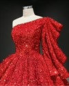 Ball Gown Sequin Overlay Prom Dress With One Ruffle Sleeves