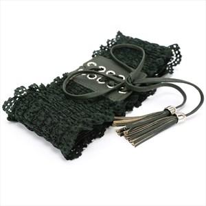 Lace Embellished Waist Cincher Corset Belt With Tassels