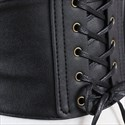 PU Leather Lace Up Elastic Waistband Corset Belt