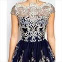 Off The Shoulder Short Sleeve Lace Embellished A-Line Cocktail Dress