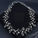 Rhinestones Handmade Flower Bridal Belts With Pearls