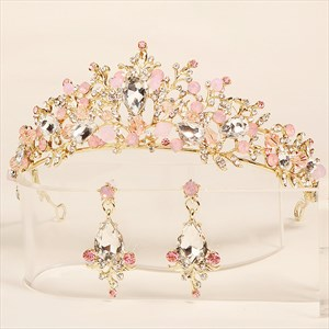Gold Baroque Alloy Rhinestones Princess Birthday Crown Earring Set