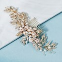 Gold Alloy Rhinestones Leaf Hair Comb With Pearls