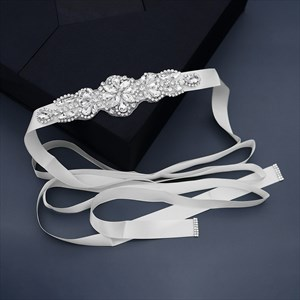 Handmade Rhinestones Bridal Sash Belt With Ivory Satin