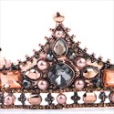 Baroque Alloy Pearl And Crystal Princess Bridal Tiara In Round
