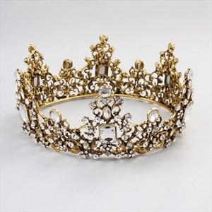 Baroque Rhinestones Crown Beaded Bridal Tiara In Round