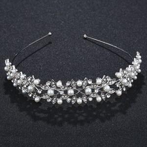 Rhinestones Birthday Girl Bridal Headband With Pearls