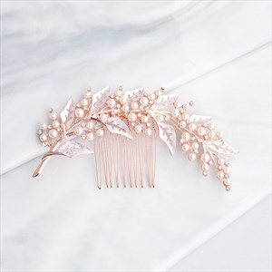 Alloy Rhinestones Leaf Hair Comb With Pearl