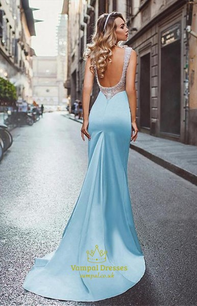 Mermaid Sky Blue Backless Long Evening Dresses With Beading