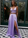 Two Piece Spaghetti Straps Split Front Satin Prom Dresses With Bowknot