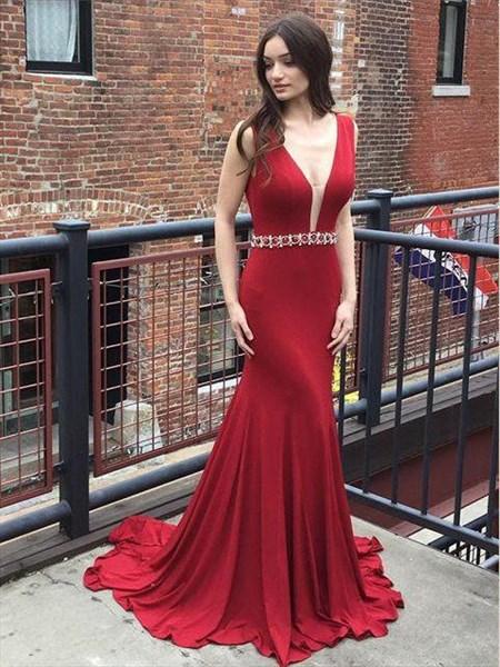 Burgundy Mermaid V-Neck Long Prom Dress With Beaded Waist