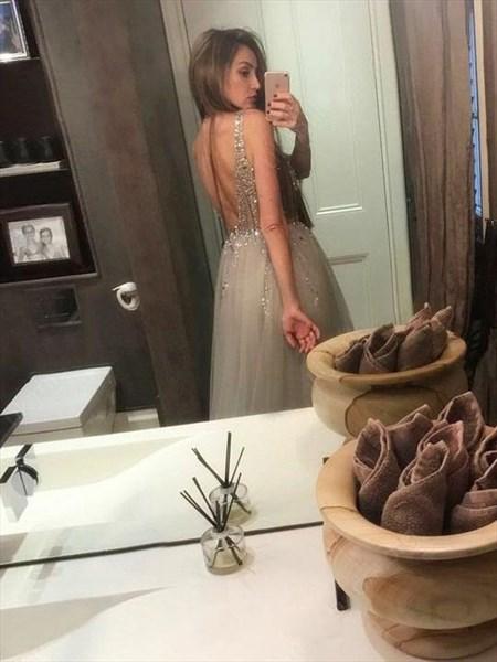 Grey Deep V Neck Beaded Bodice Split Front Long Tulle Prom Dresses
