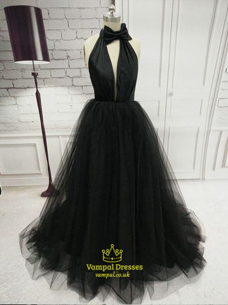 Black A-Line Halter Keyhole Long Tulle Prom Dresses With Bowknot
