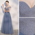 Steel Blue Beaded Bodice Off-The-Shoulder Long Tulle Prom Dresses