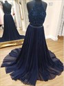 Long Navy Blue Two Piece Halter Beaded Bodice Backless Evening Dress
