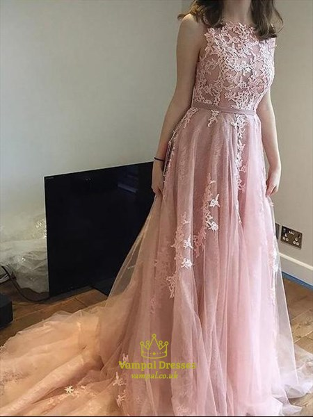 Mauve Pink A-Line Long Lace Applique Tulle Prom Dresses With V-Back