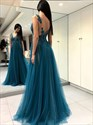 Teal Pleated Beaded Lace Applique Split Front Tulle Long Prom Dress