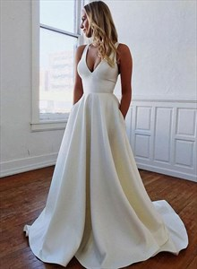 Ivory A-Line V-Neck Sleeveless Long Satin Wedding Dress With Bowknot