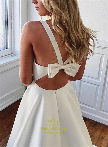 Ivory A-Line V-Neck Sleeveless Long Satin Wedding Dress With Bowknot