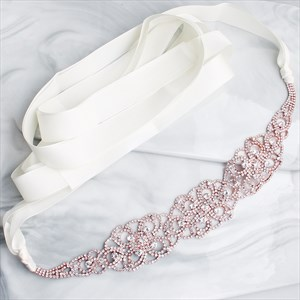 Knit Rhinestones Princess Wedding Sash Belt