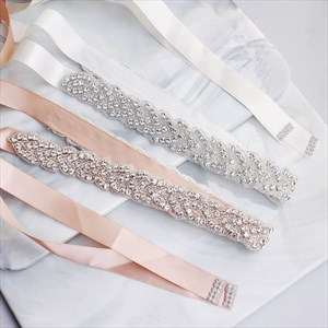 Handmade Beaded Satin Wedding Belt With Rhinestones