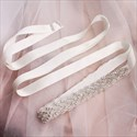Handmade Beaded Satin Wedding Belt With Rhinestones