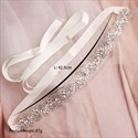 Ivory Satin Princess Bridal Belt With Rhinestone
