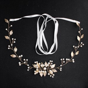 Gold Alloy Leaf Handmade Princess Bridal Sash Belt With Pearls