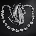 Alloy Leaf Handmade Princess Bridal Belt With Rhinestones